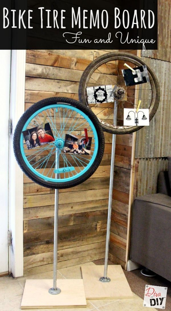 Thrift Store Find: How to Make a Bicycle Wheel Memo Board Looking for a new way to display photos, memos or notes? Ready for that next item you just have to look for on your next thrift store outing? Bicycle Tire memo board! http://divaofdiy.com/thrift-store-find-make-bicycle-wheel-memo-board/