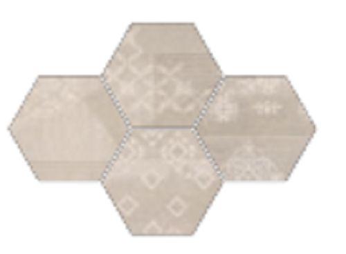 #Provenza #Gesso Esagona Patchwork Taupe Linen 25,5x29,4 cm R303x1R   Feinsteinzeug   im Angebot auf #bad39.de 189 Euro/qm   #Mosaik #Bad #Küche