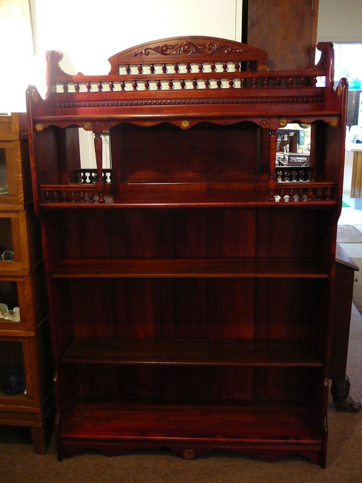 S51 ANTIQUE VICTORIAN EASTLAKE MAPLE STAINED CHERRY BOOKCASE GALLERY TOP ETAGERE #ArtNouveau