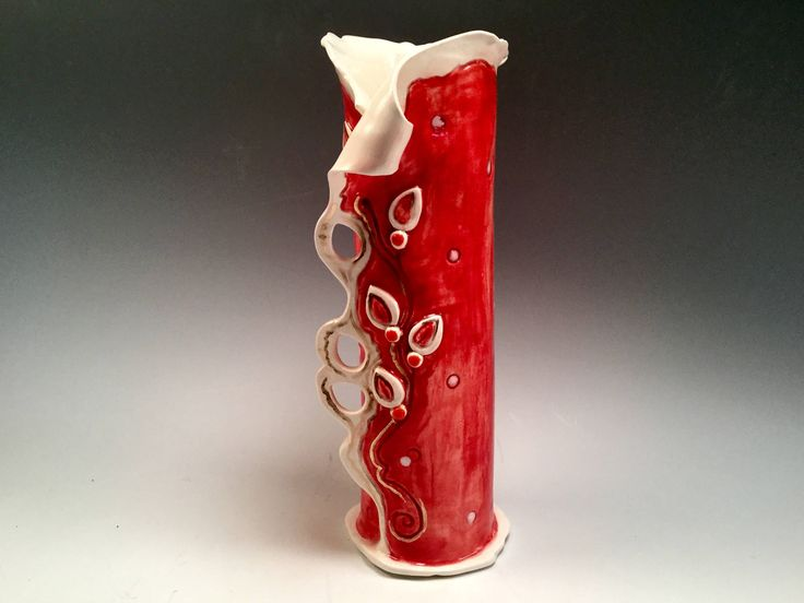 Vase/pottery vase/red vase/bud vase/small vase/flower vase/house warming gift by joycepottery on Etsy