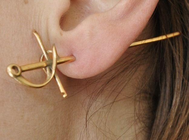 Rapier Earrings (17th century sword) 3d printed Earrings stabbed in the ear!