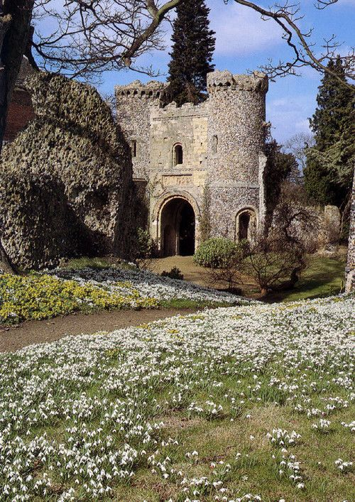 The ruins of a Norman Castle in Benington Lordship Gardens, Stevenage, England
