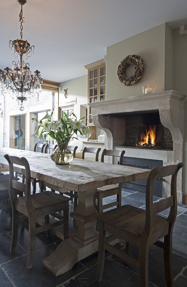 Kitchen/dining table, stone fireplace image via 't Achterhuis Historic Building Materials, The Netherlands (project 8), as seen on Source Sharing, linenandlavender.net, http://www.linenandlavender.net/2013/02/source-sharing-t-achterhuis-nl.html