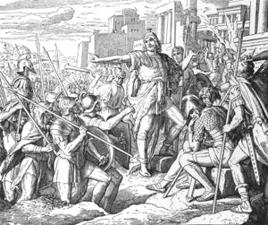 Judah from Die Bibel in Bildern. After several years of conflict Judah drove out his foes from Jerusalem, except for the garrison in the citadel of Acra. He purified the defiled Temple of Jerusalem and on the 25th of Kislev (December 14, 164 BCE) restored the service in the Temple. The reconsecration of the Temple became a permanent Jewish holiday, Hanukkah.