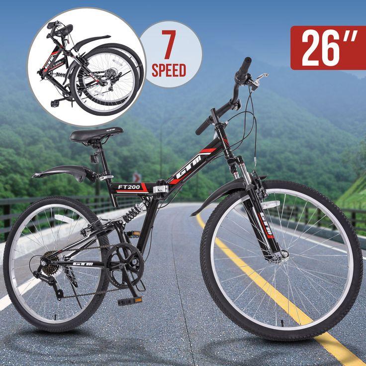 7 Speed Folding Mountain Bike Black Bicycle Hybrid Shimano Suspension Sports 26