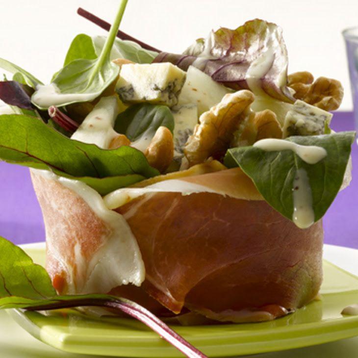 Bonbon Van Parmaham Gevuld Met Salade, Blauwe Kaas, Meloen En Noten Recipe with parma ham, cheese, melon, cashew nuts, lettuce, rucola, chives, mustard, cherry tomatoes, basil