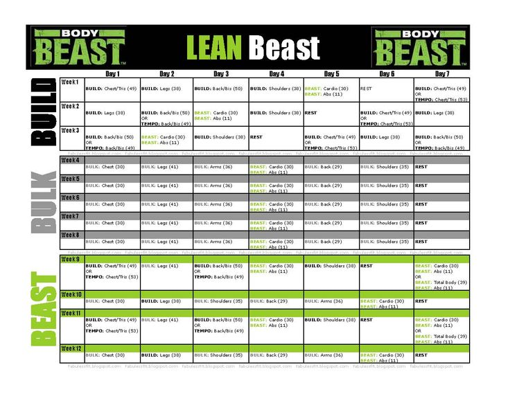 Workout schedule for Body Beast's LEAN Beast (for those who want to ...