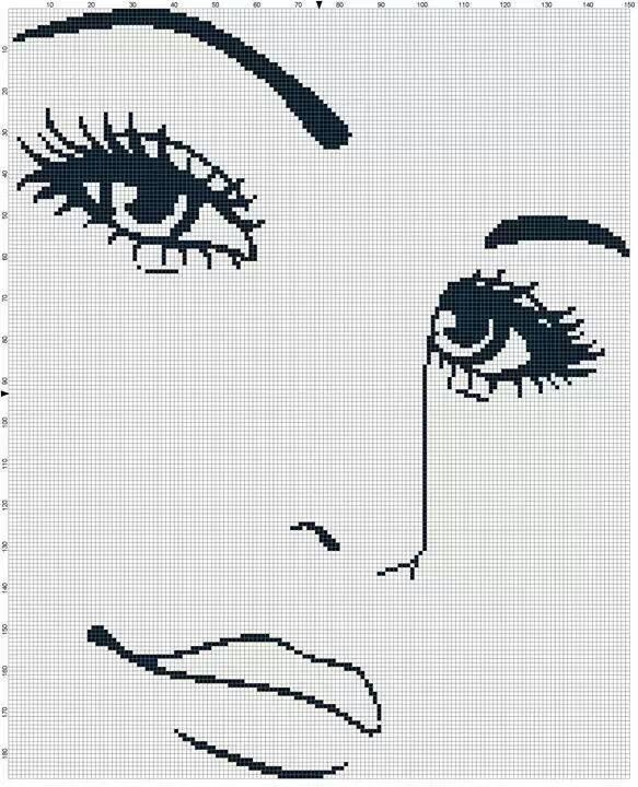 0 point de croix visage - cross stitch