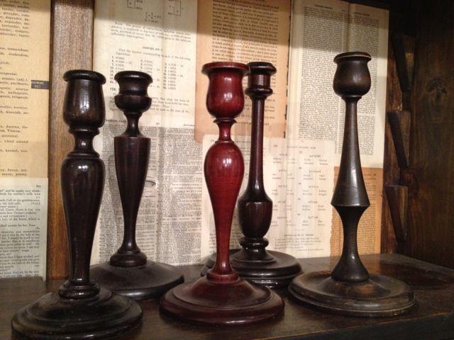 Vintage turned wood candlesticks, love