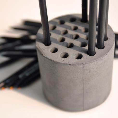 Diy porte-crayons en béton