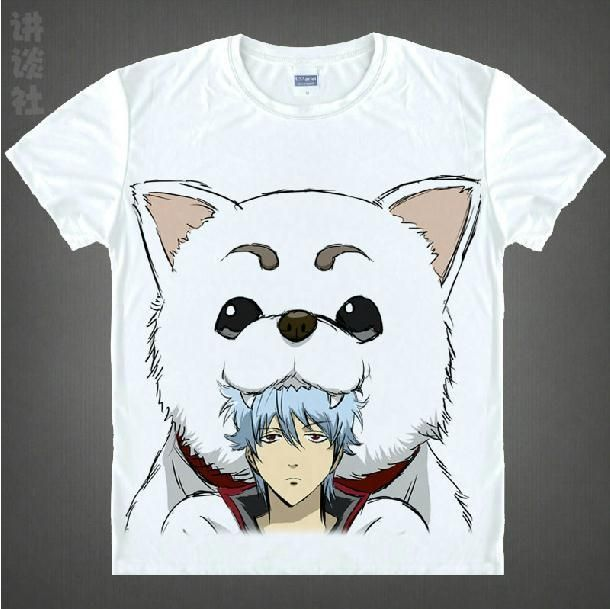 Free Shipping GINTAMA Silver Soul Sakata Gintoki Cosplay T shirt Summer Short Sleeve COS Men tshirt Japanese Anime Tops Tees