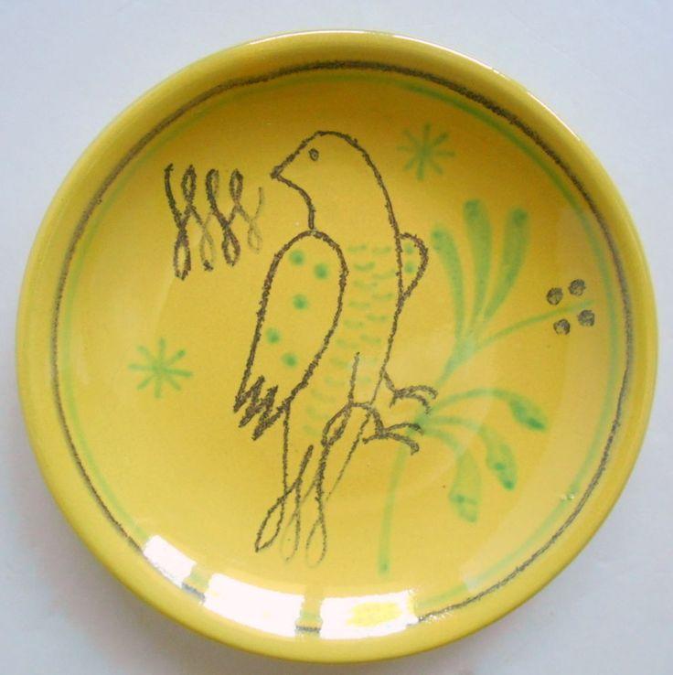 "Nittsjo Sweden Bird Plate Yellow Ceramic w/ Handpainted 5"" Vintage Swedish EUC"