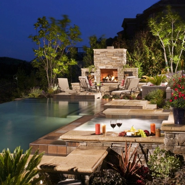 Pool Hot Tub Fire Pit Dream Home Pinterest