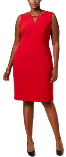 #NineWest Womens #Plussize Red Beauty Embellished Cut Out #PartyDress #newyeareveoutfit