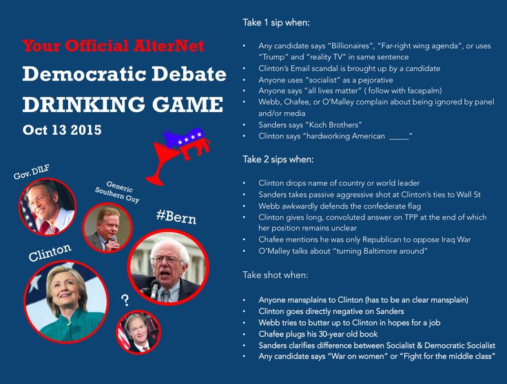 Your Official AlterNet Democratic Debate Drinking Game | Alternet