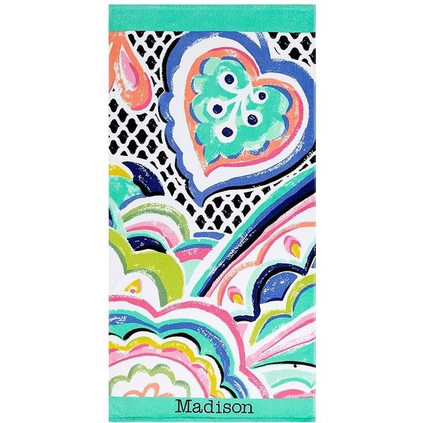 PB Teen Madison Beach Towel at Pottery Barn Teen ($15) ❤ liked on Polyvore featuring home, bed & bath, bath, beach towels, pbteen, personalized beach towels and tropical beach towels