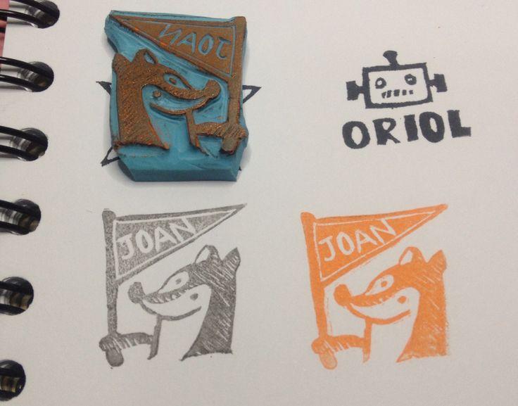 Fox stamp handcarved stamp by Natàlia Trias inspired by Sieben Morgen