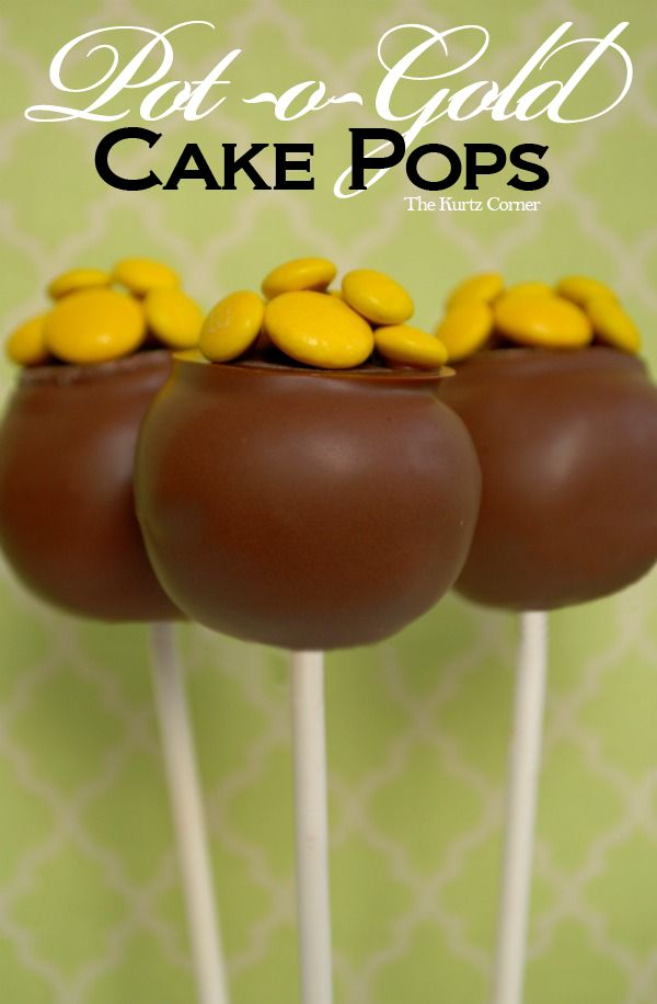 Pot of Gold Cake Pops Recipe and St. Patrick's Day Food Ideas for Kids and Adults. St Patricks Day Recipes. Party Food Ideas. St Pattricks Day Ideas. Cake Pop Ideas. Kids Food Crafts.