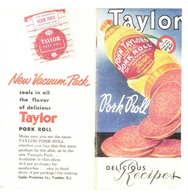 New Jersey Taylor Pork Roll Delicious Recipes #TaylorPorkRoll New Jersey Taylor Pork Roll Recipes  These recipes are taken from a vintage recipe booklet that belonged to my grandmother. I was born and raised in New Jersey and moved out of state about 10 years ago. I could not purchase pork roll anywhere and no one had even heard of it. That was a sad day for me! Now, I have to stock up every time I go to visit my family in New Jersey.