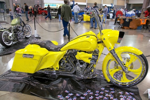 Xtreme Customs and Cycles in Mauldin, South Carolina, built a screaming yellow 2009 Harley Road King that owner Fernando Bates will never lose in a parking lot.