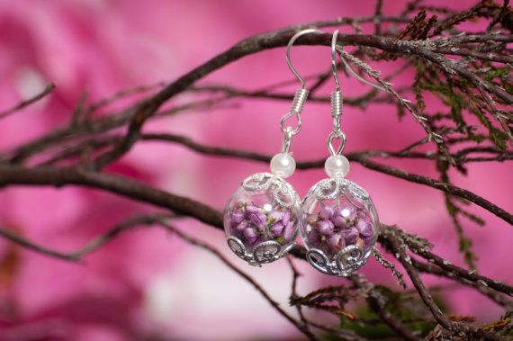 Real Heather and hand blown glass short drop by LomharaJewellery