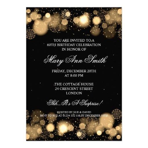 Elegant Winter 60th Birthday Party Gold Custom Invitations
