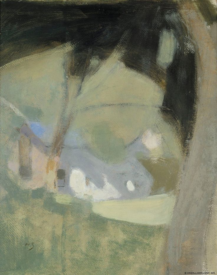 Helene Schjerfbeck, The Old Brewery (Composition), 1918, Oil on cardboard, 51,5 x 40,5 cm, Finnish National Gallery, Helsinki