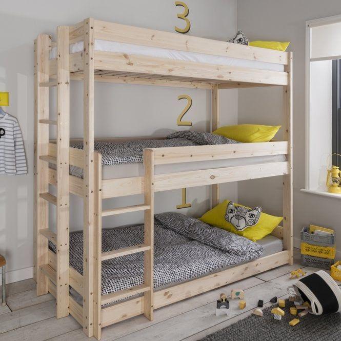 Henrik Triple Bed Bunk Triple Sleeper In Natural Pine Triple