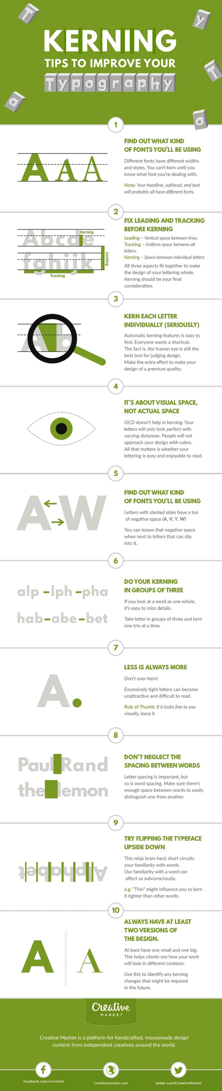 """""""Typography is an art. Good typography is art."""" – Paul Rand. If you're a typography freak like us, you'll enjoy this handy infographic by Creative Market that shares some useful kerning tips and tricks to improve your typography. It covers some good points like kerning each letter individually, using visual space not actual space, and […]"""