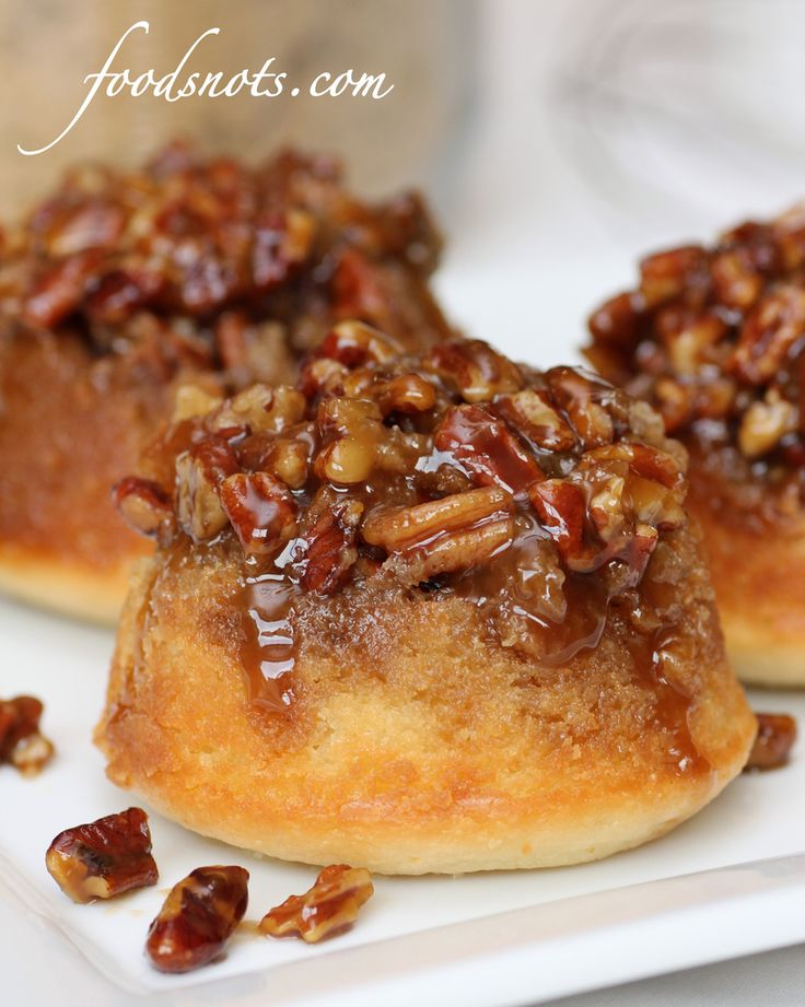 Sticky Pecan Upside-Down Baby Cakes from Food Snots