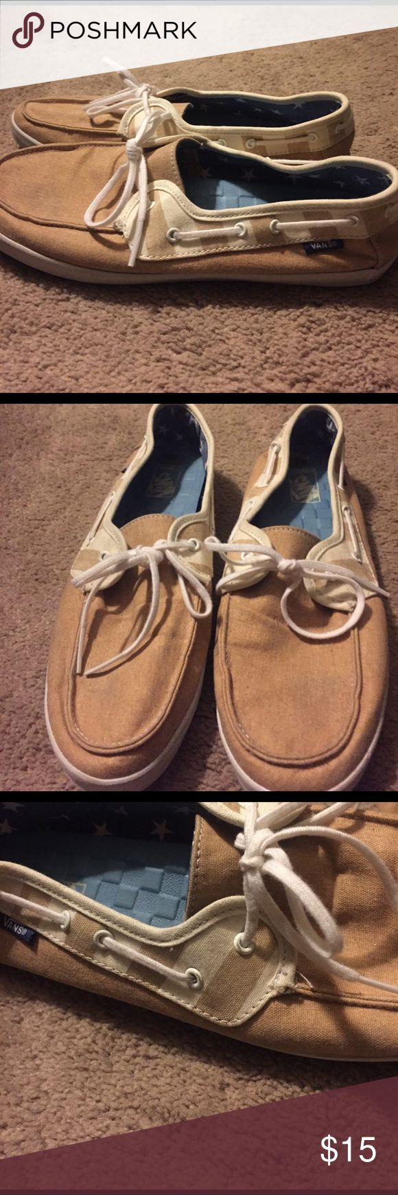 Vans boat shoes Tan and white noats shoes by vans Vans Shoes Flats & Loafers