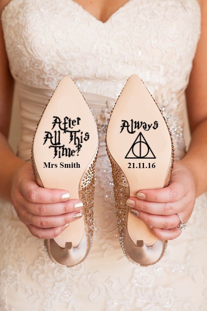Personalized Harry Potter themed decals for your wedding shoes! | Harry Potter Wedding Ideas | Harry Potter Themed Wedding | Always Wedding Ideas | Wedding Shoes | Bridal Shoe Decals | #weddingshoes #harrypotter #harrypotterwedding #nerdwedding
