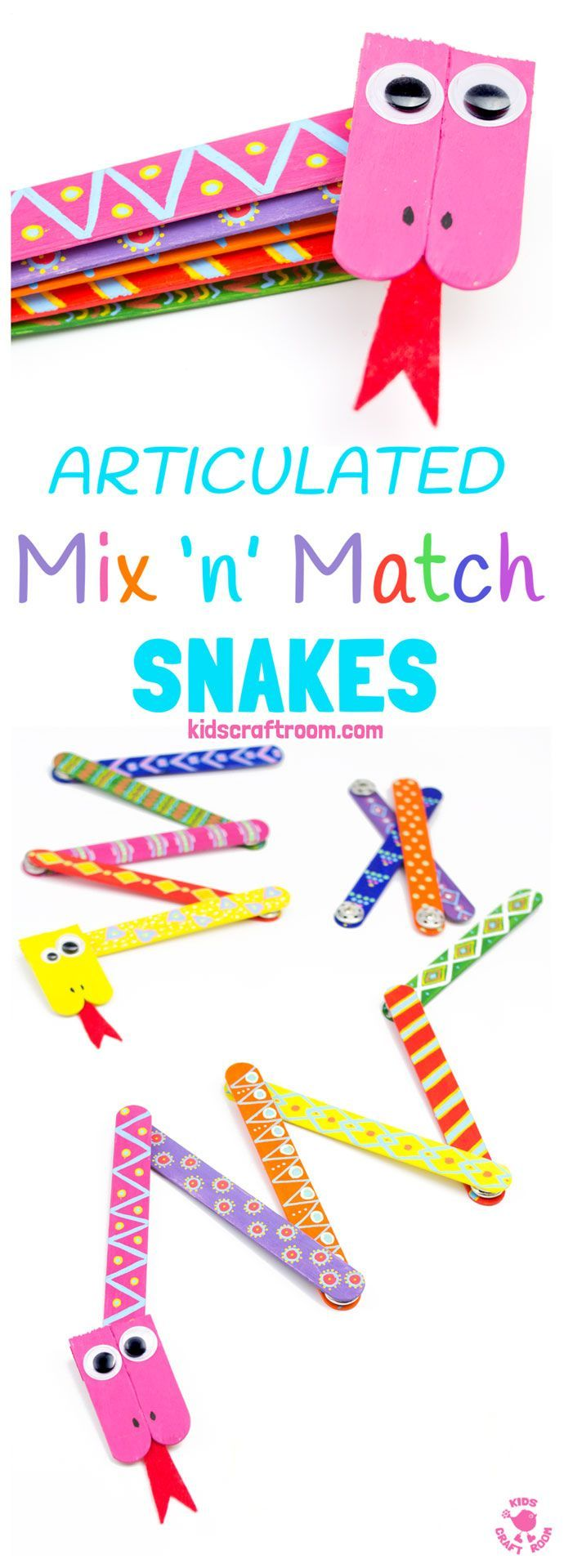 SNAKE CRAFT: This Mix 'N Match Articulated Snake Craft is such fun and twists, turns and slithers like a real one! With bright and colourful interchangeable body parts kids can make a unique snake toy every time they play!