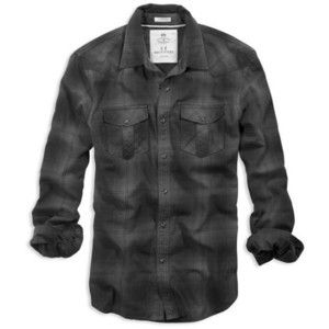 AE Men's Western Flannel Shirt (Charcoal)
