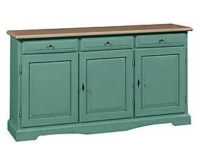 Credenza in legno a 3 ante e 3 cassetti verde acqua - 156x42x86 cm