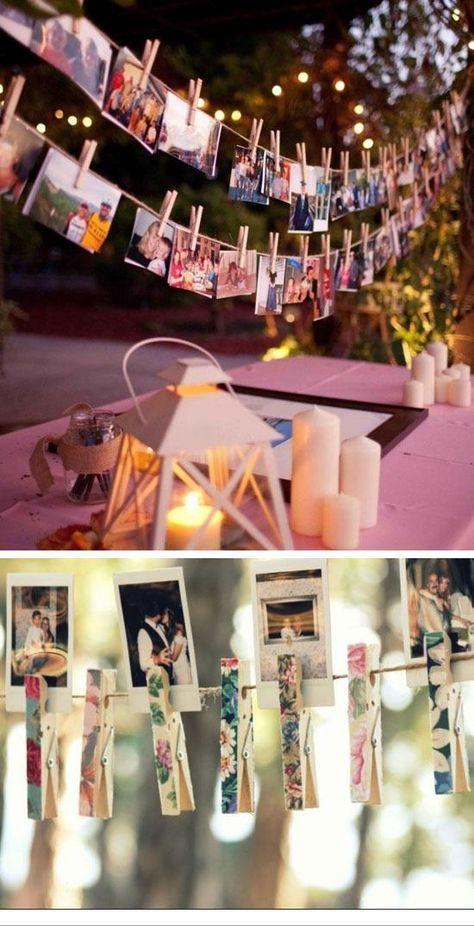 Clip Polaroids to String Lines | 15 DIY Outdoor Wedding Ideas on a Budget