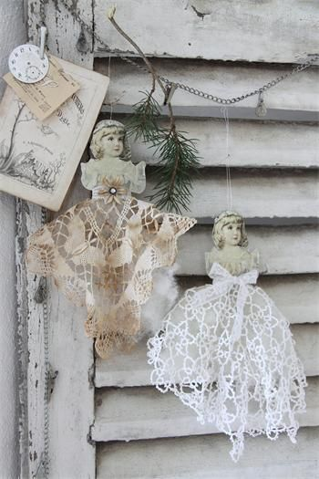 Love these little dolls - would make from vintage papers and Battenberg lace or crocheted doilies - would make nice angels as well - from The Charm of Home: Inspiration for Christmas - #alteredart #mixedmedia #crafts #Christmas #vintage #angels #ShabbyChic tå√