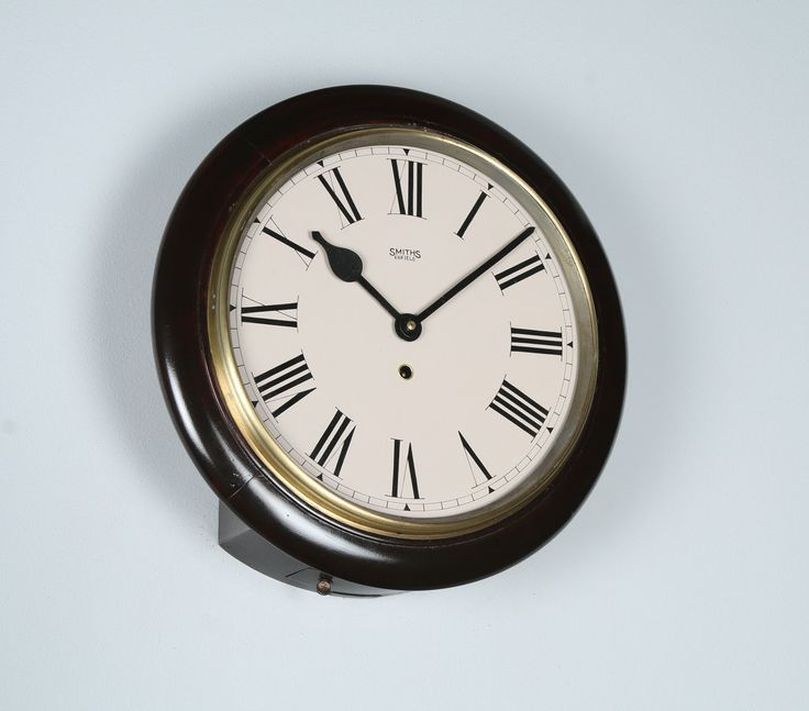 """Antique 15"""" Mahogany Smiths Enfield Railway Station / School Round Dial Wall Clock (Time Piece / Timepiece) by YolaGrayAntiques on Etsy"""