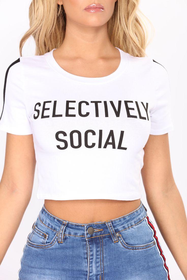 Selectively Social Tee - White/Black