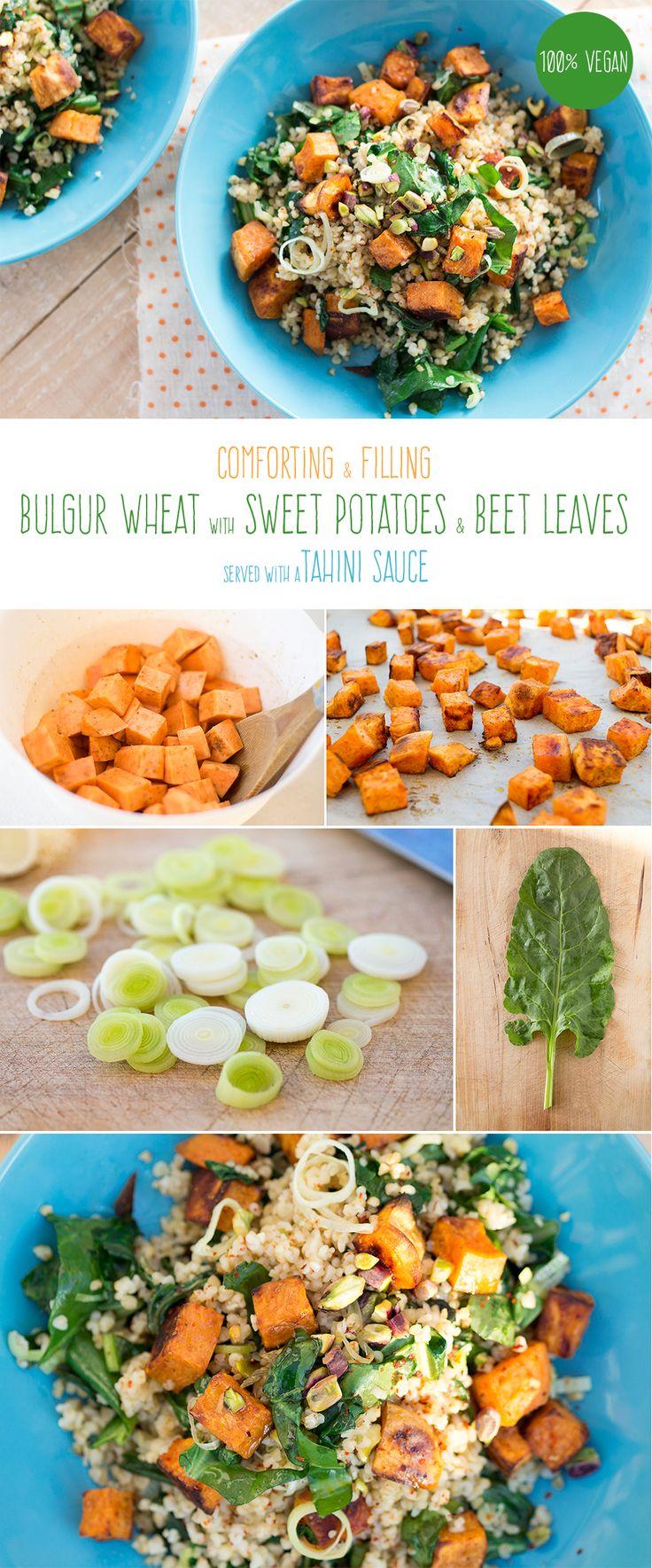 Comforting and filling warm salad of spiced bulgur wheat, roast sweet potatoes…