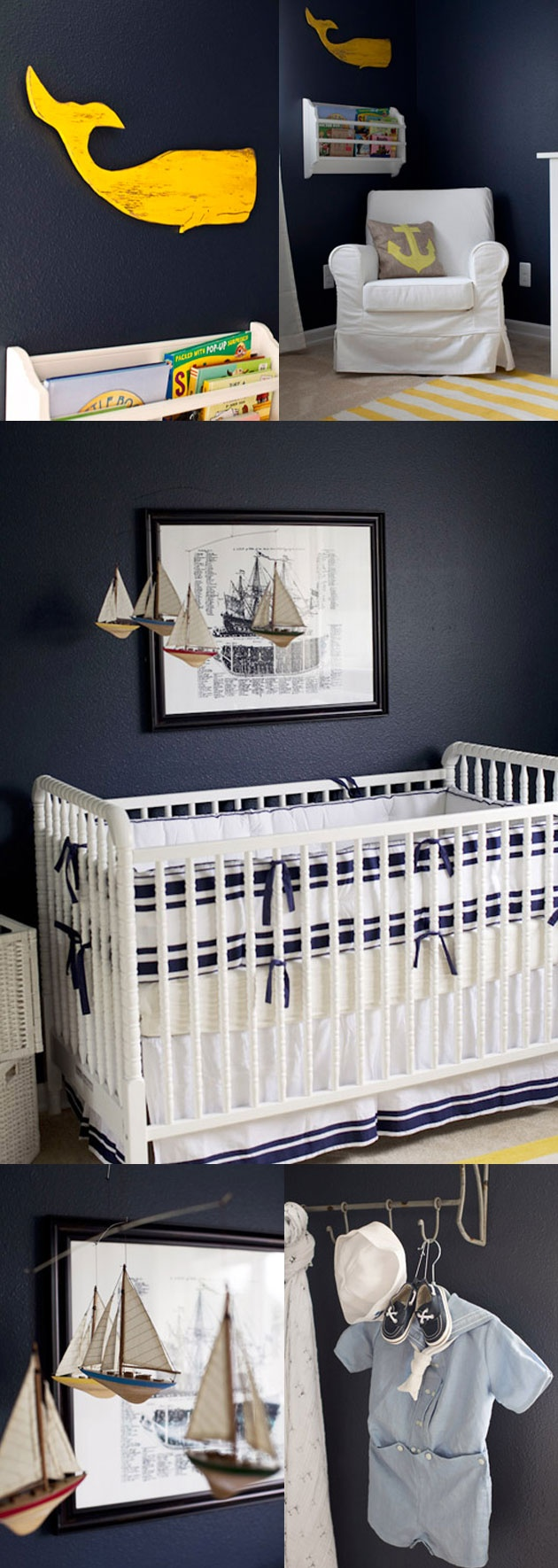 Perfect Blue & White Nautical Nursery with Yellow Accent