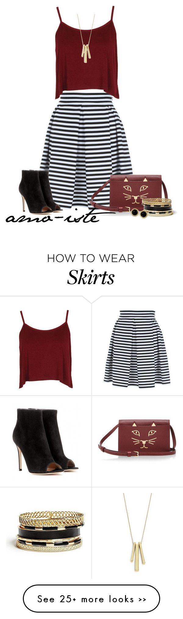 """Striped Skirt"" by amo-iste on Polyvore"