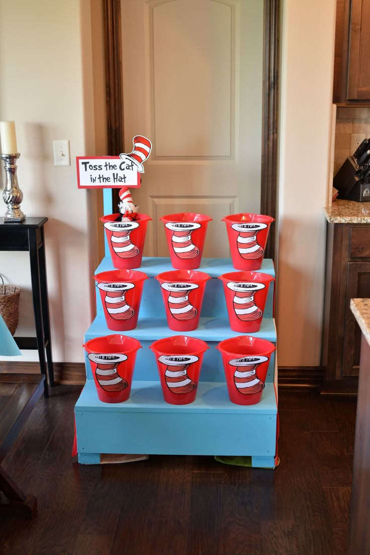 Toss the Cat in the Hat game for thing one and thing two birthday party