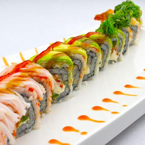 Happy Roll: Tempura Shrimp, Masago, Jalapeno, Cream Cheese, Mayo