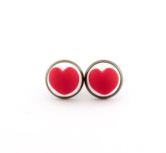 Red heart earrings - vintage style earrings - polymer clay levelback earrings - polymer clay red hearts
