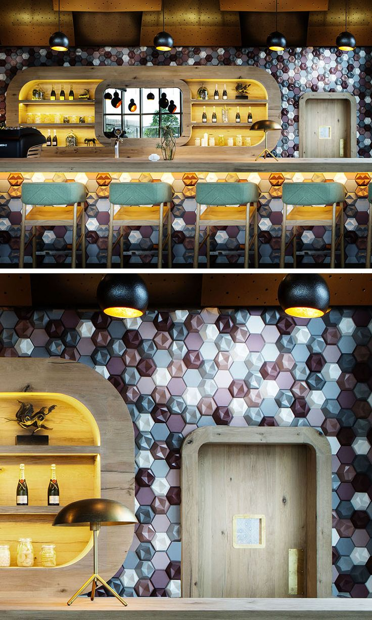 Wall Decor Idea - This Caf Covered Their Walls With 3D Concrete Tiles