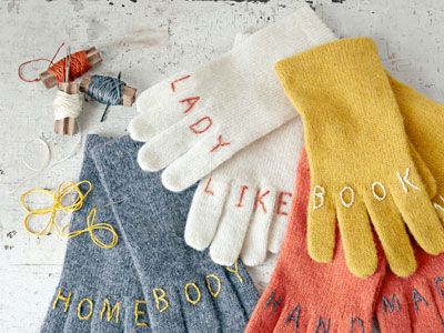 gloves.Book Worms, Witty Gloves, Gift Ideas, Knuckle Tattoos, Diy Gift, Country Living, Christmas Gift, Crafts, Embroidered Gloves