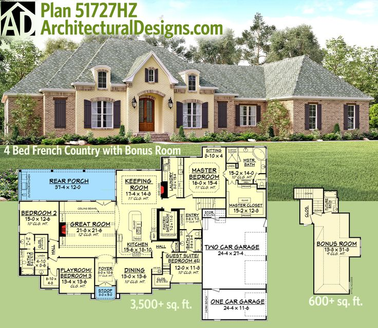 159 best acadian style house plans images on pinterest for One story house plans with bonus room above garage