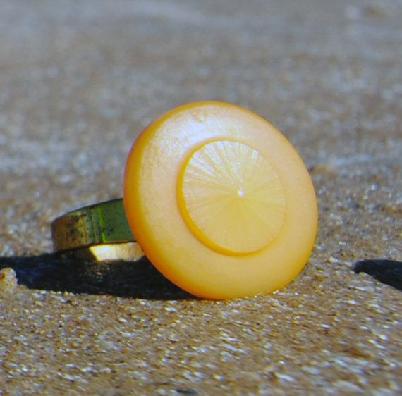 Vintage Button Cabochon Ring  Adjustable by RescuedOfferings #Etsyspecialt