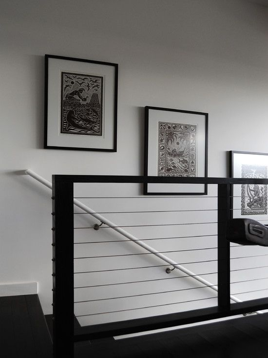 Exemplary Contemporary Indoor Stair With Black Wire Railing To Match With Black Steps And White Hand Rail